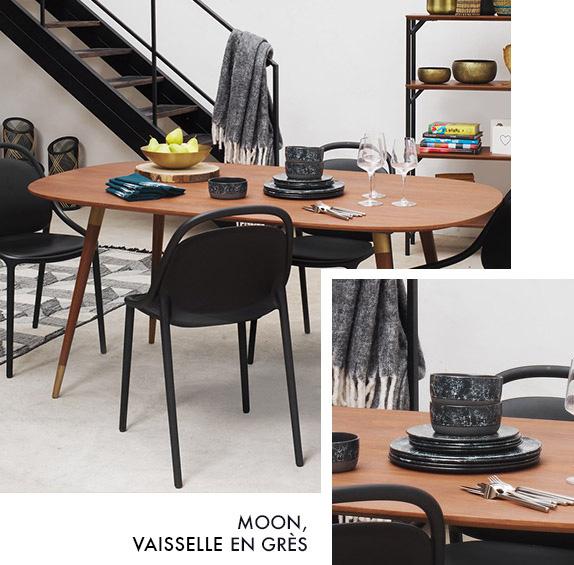 table Ariane et vaisselles moon