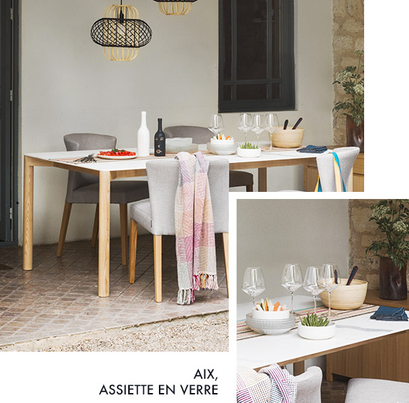 table Milda et assiette en verre Aix