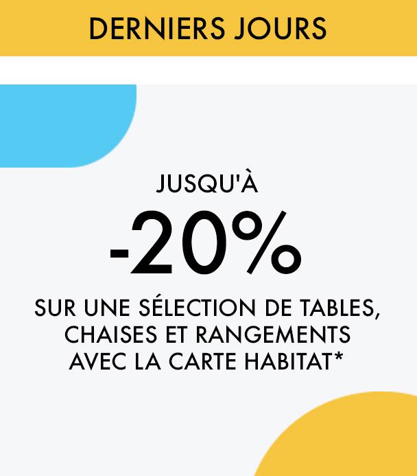 Jusqu'à -20% sur une sélection de tables, chaises et rangements avec la carte Habitat*