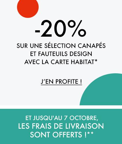 Jusqu'à -20% sur une sélection de canapés et fauteuils design*