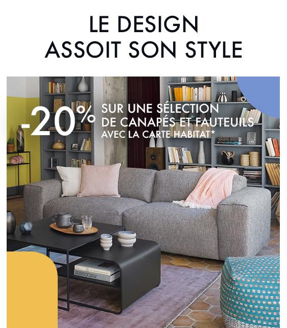 le design assoit son style -20% sur une sélection de canapés et fauteuils*